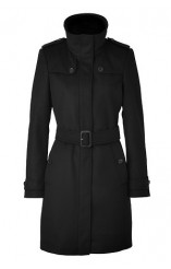 BURBERRY LONDON Black Belted Cashmere Wool Blend Coat