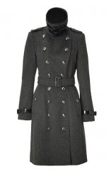 BURBERRY LONDON BlacBURBERRY LONDON Dark Charcoal Duncannon Coat k Belted Cashmere Wool Blend Coat